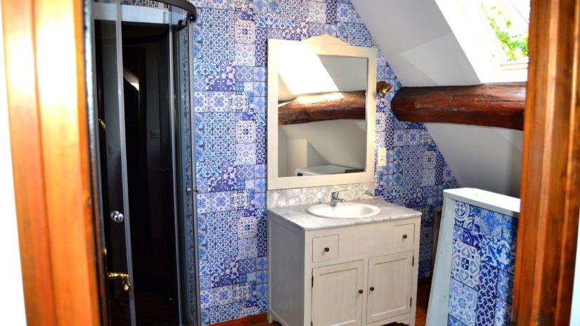 cabine de douche avec évier et meuble de la salle d'eau du gîte de charme