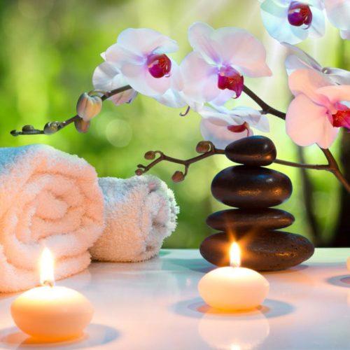 déco zen spa avec pierres et bougies